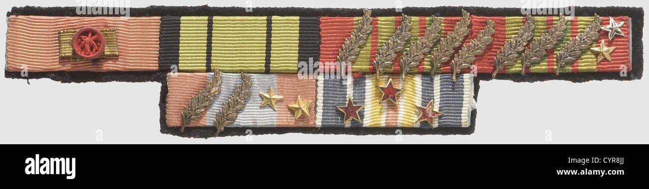 General Louis Dio (1908 - 1994), Medal bars and flag of the Régiment de Marche du Tchad Six medal bars (colours - Stock Image