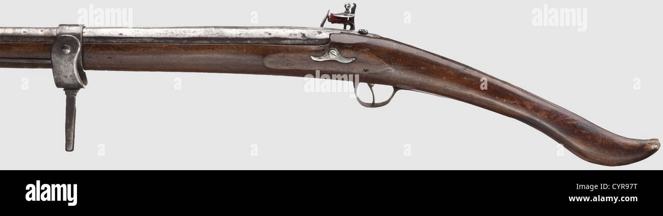 A light swivel gun, England(?) circa 1800. Older, reused barrel of a hackbut from circa 1600. Octagonal cross-section - Stock Image