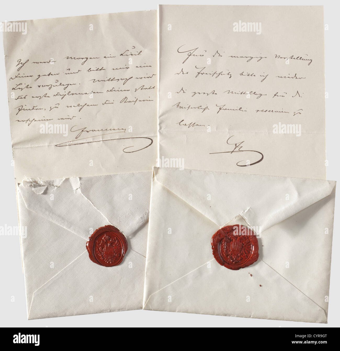 "Kaiser Franz Joseph I of Austria,two handwritten letters to Obersthofmeister Prince Hohenlohe ""Ich werde morgen Stock Photo"