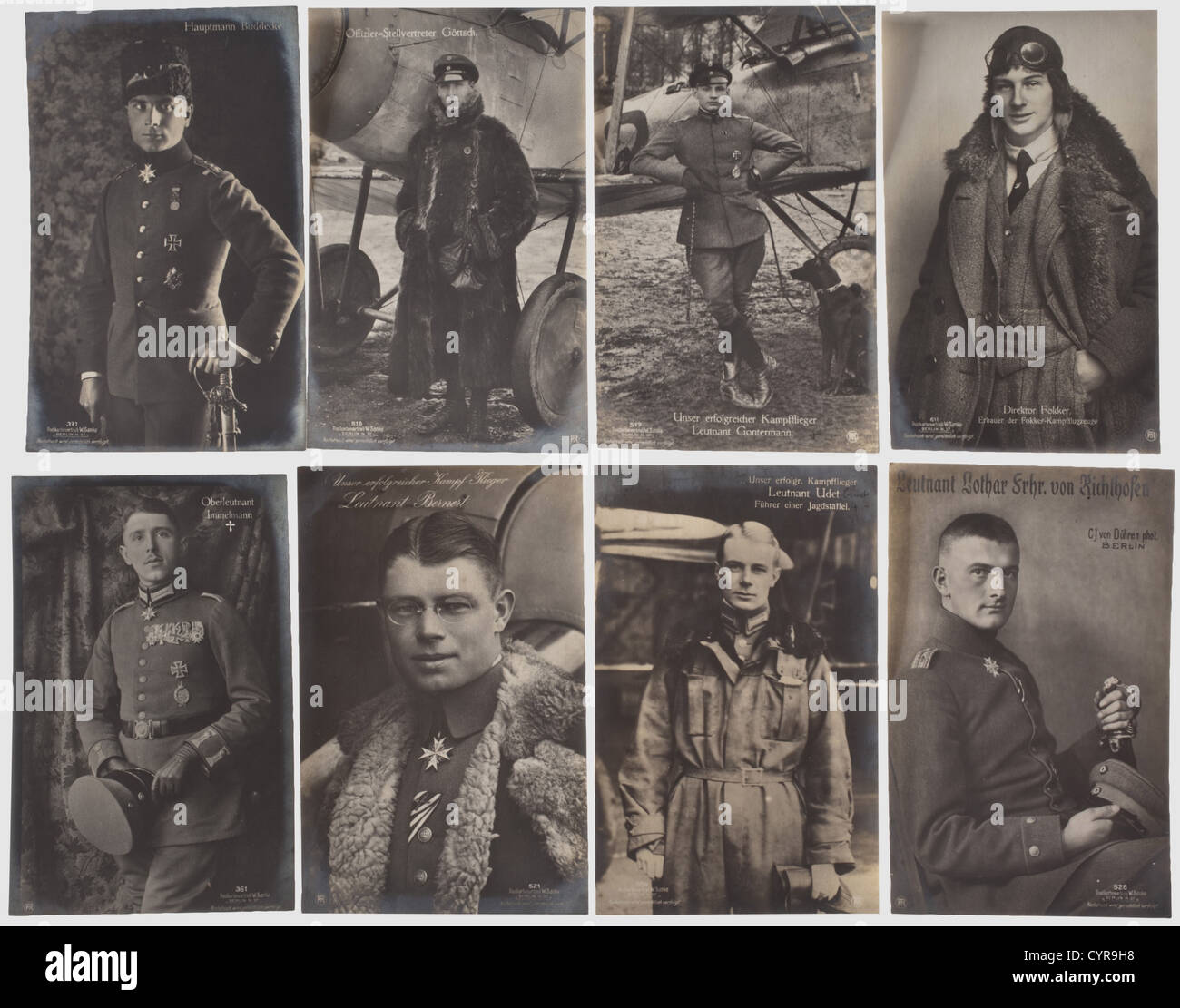 Collection of 80 portrait postcards, of German flying a historic, historical, people, 1910s, 20th century, troop, - Stock Image