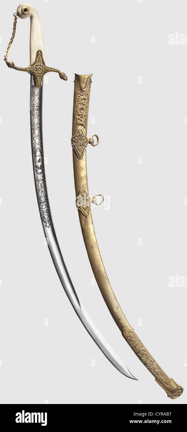 A high-ranking officer's sabre, Afghanistan, dated 1897 Slightly curved, single-edged blade with fullers on - Stock Image