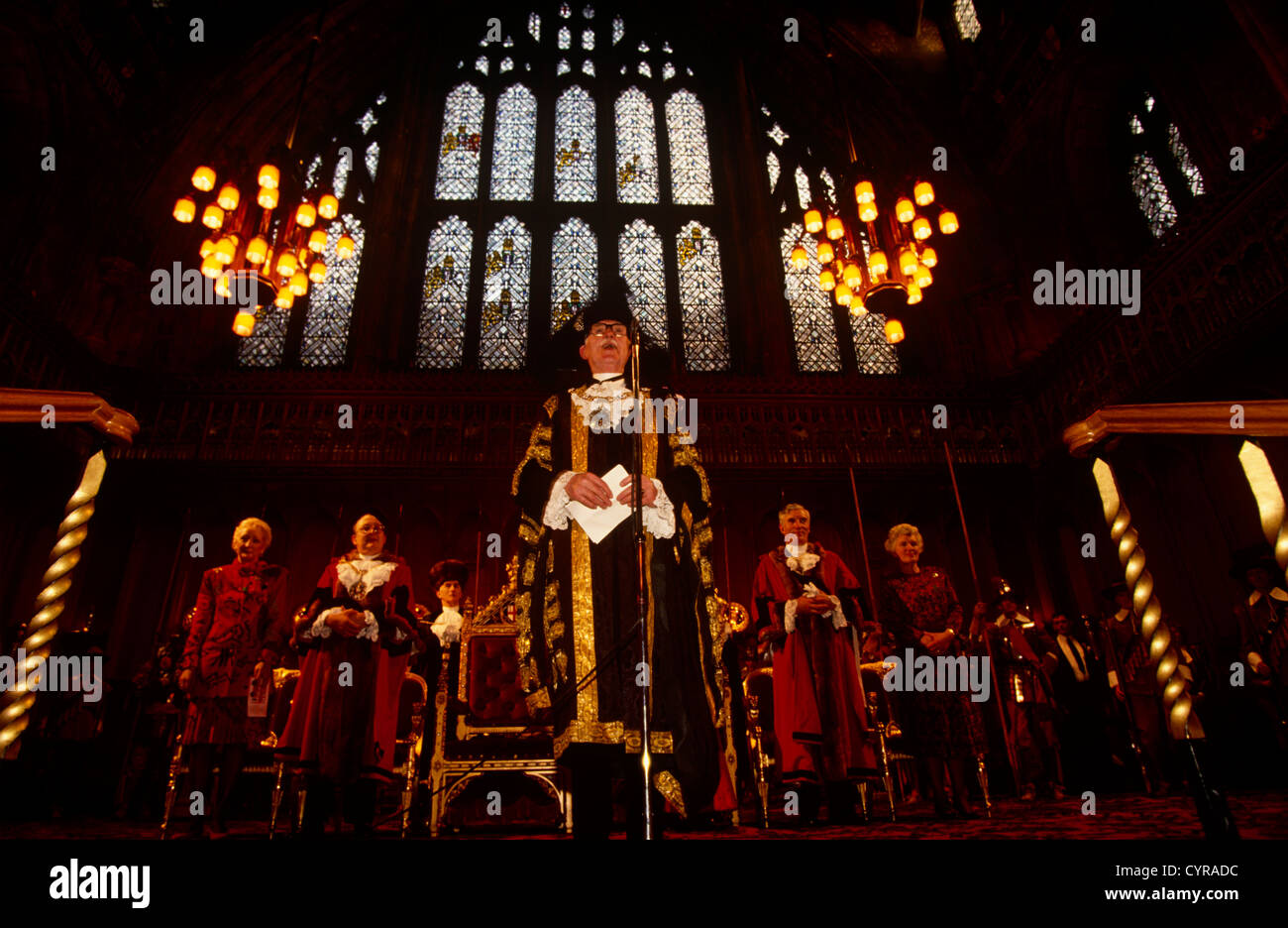 Lord Mayor of London makes a speech in front of invited guests and VIPs, hosting his annual party in the Guildhall. - Stock Image
