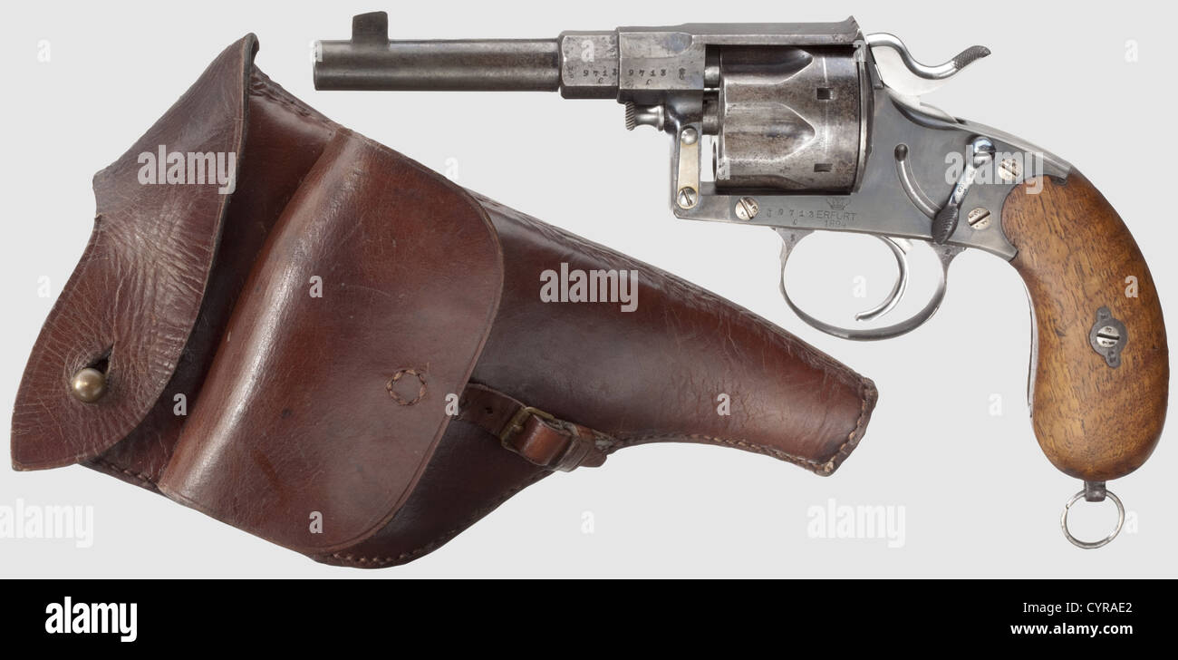 Reichsrevolver Mod. 1883, Erfurt, with holster, 10.6 mm cal, no. 9713c. Matching numbers including screws. Single Stock Photo