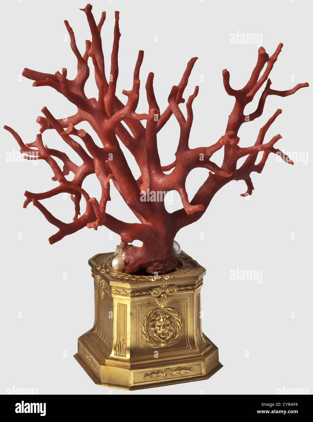 A tree-shaped coral, Southern Italy, 19th century A richly branching tree of precious coral with three pearls attached - Stock Image