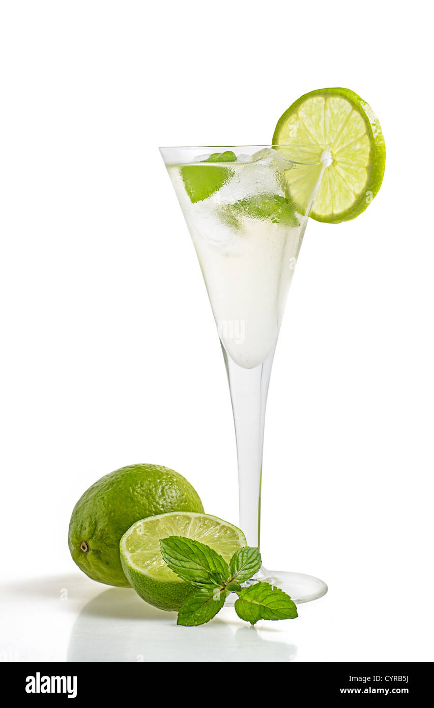 Drink with lime and mint in a champagne glass Stock Photo