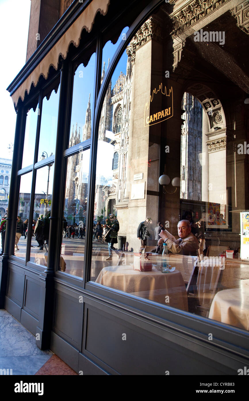 Campari bar and cafeteria, Galleria, Duomo square, Milan, Milano, Italy, Italia - Stock Image