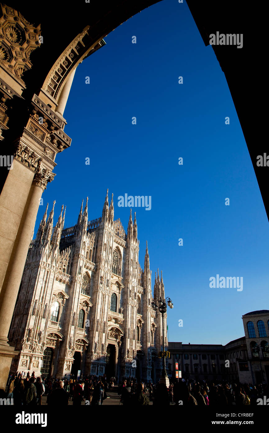 Duomo, gothic cathedral and square in Milan, Milano, Italy, Italia - Stock Image