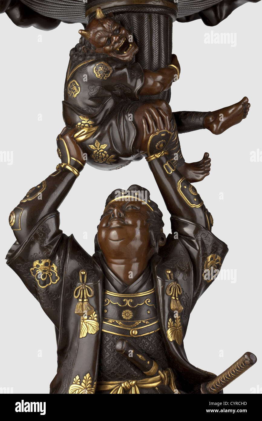 Benkei with two oni, Japan, Meiji period A three-piece bronze figure of the young Benkei in nigurome and akagane. - Stock Image