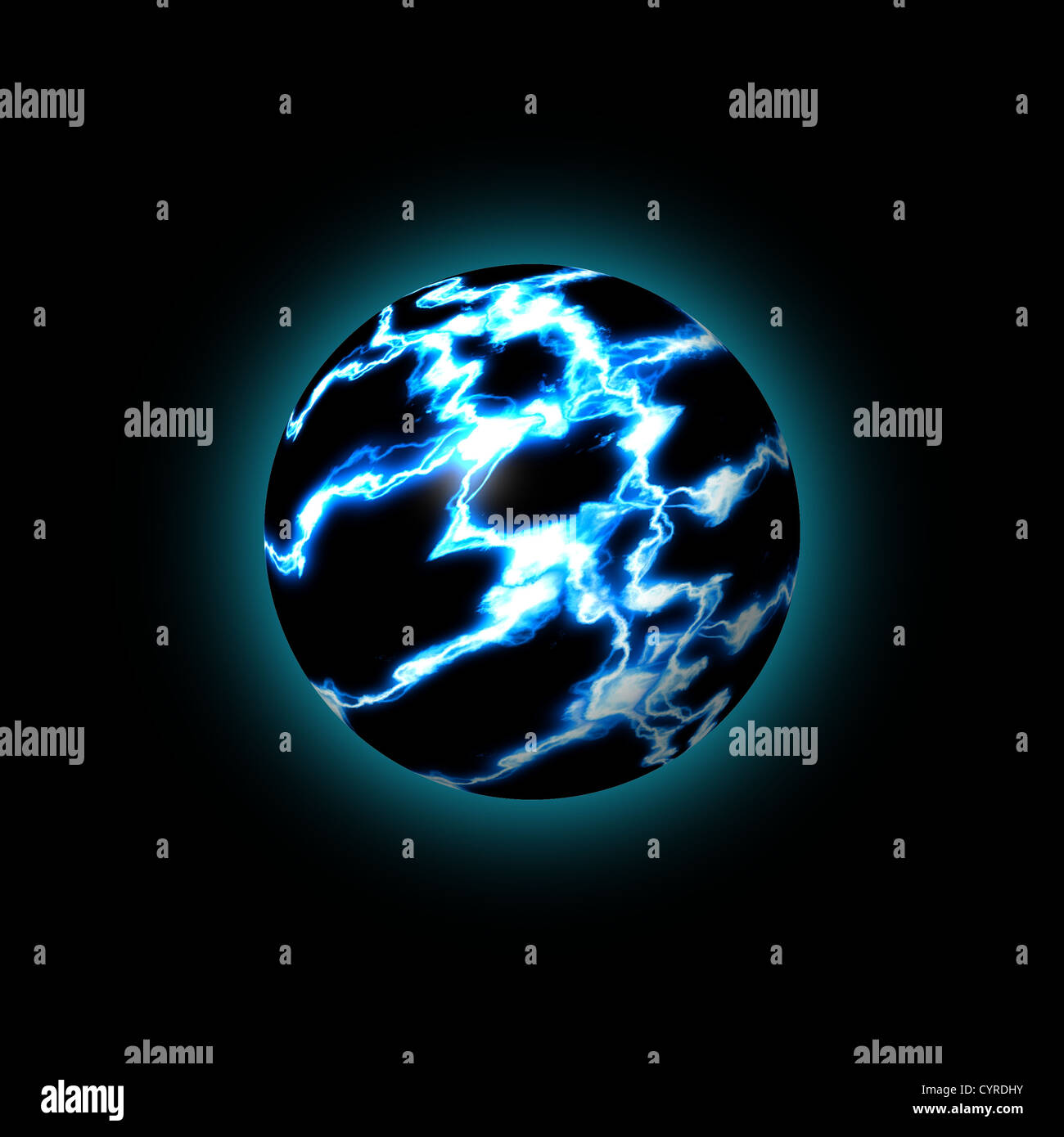 Blue Lightning Globe Showing An Abstract World Stock Photo