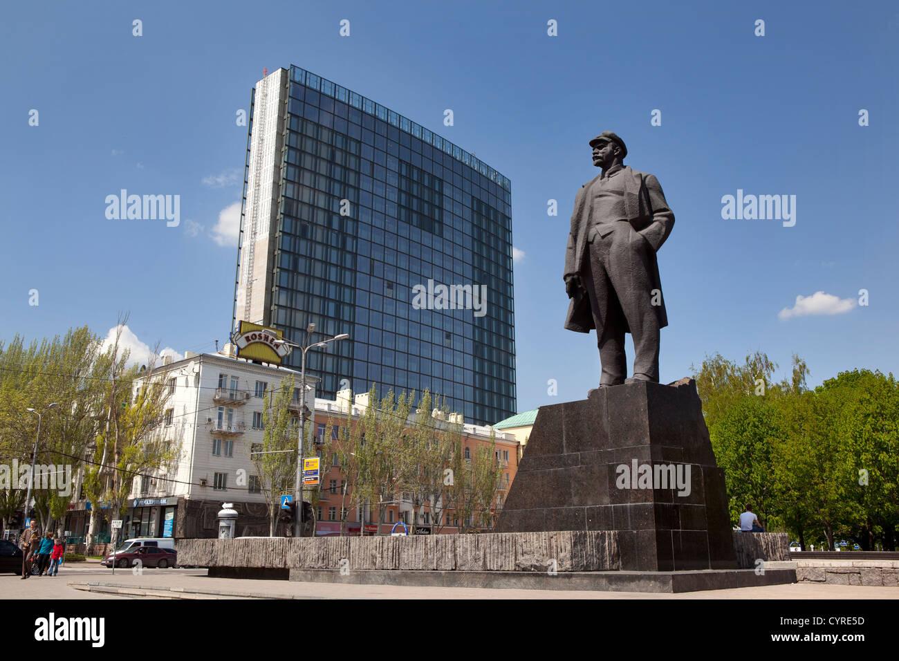 Donetsk, Ukraine, Lenin statue in Lenin square. Stock Photo