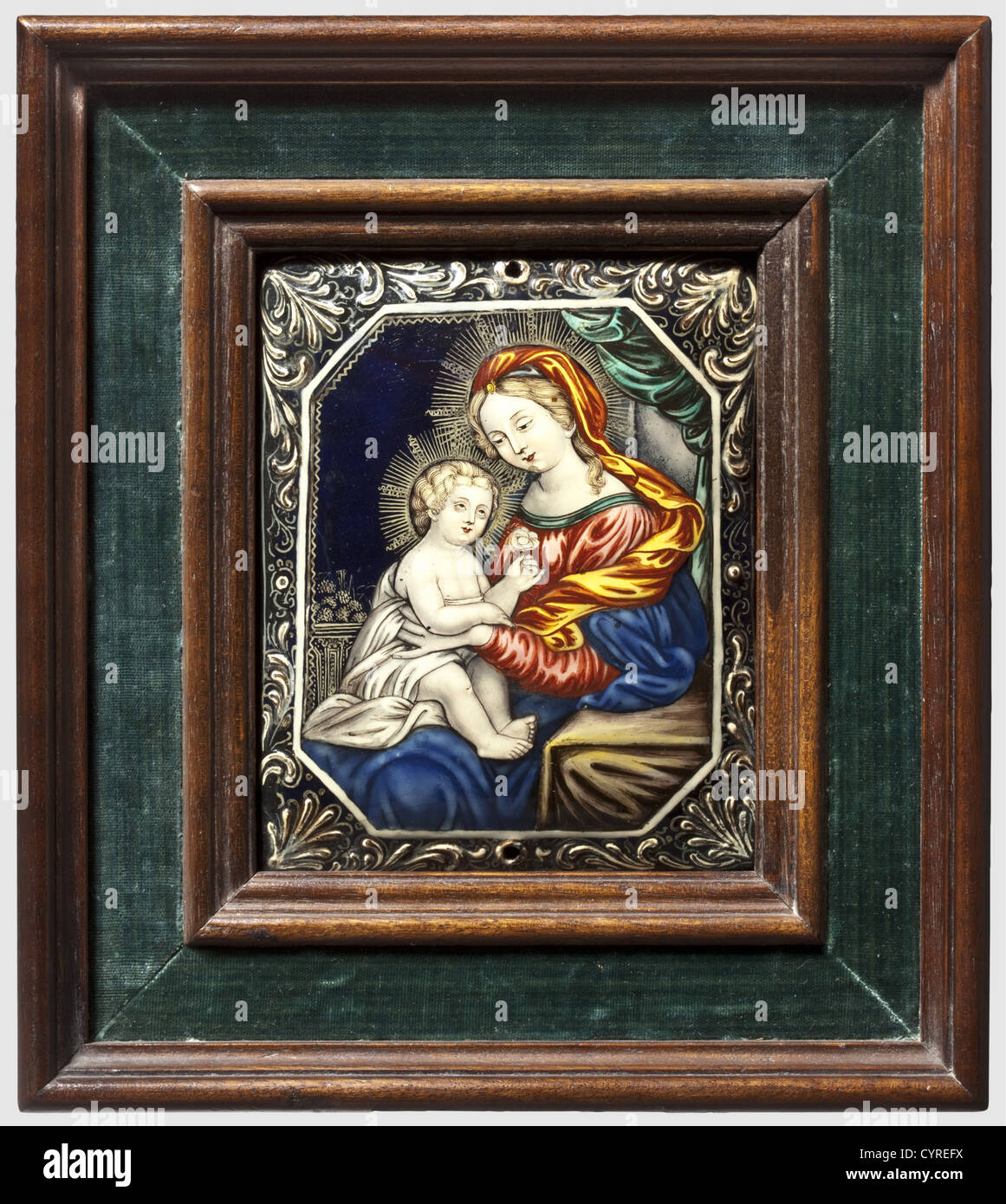 Mary and child, Limoges, 18th century Cambered copper plate with fine polychrome, enamel painting. Portrayal of - Stock Image