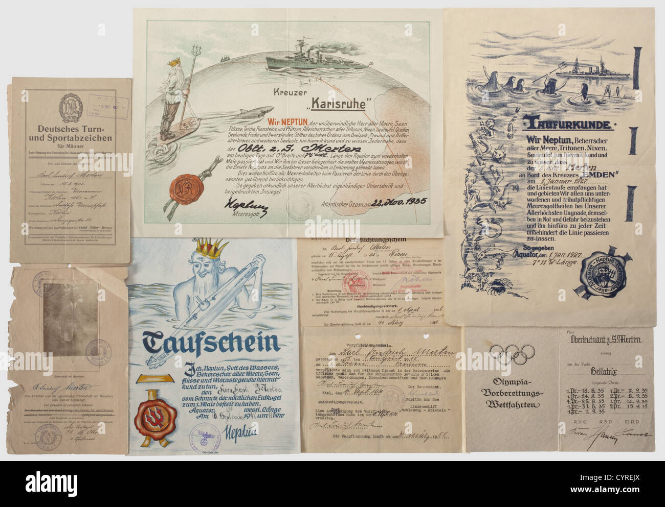 Certificates of enlisting and of crossing-the-line ceremonies, certificates of enlisting and of crossing-the-line - Stock Image