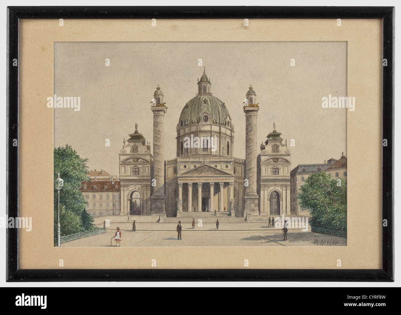 Adolf Hitler - watercolour Karlskirche in Vienna circa 1910 - 12, from his private collection Watercolour on paper, - Stock Image