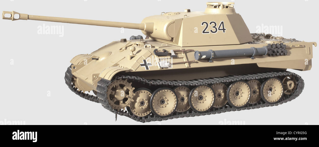 The model of a V 'Panther' tank, A custom-made model made from metal according to original drafts, sand - Stock Image