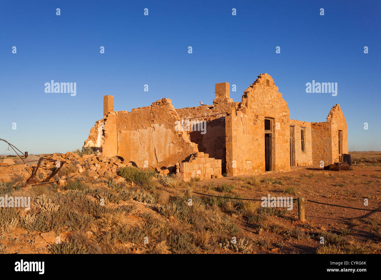 Ruins of the Transcontinental Hotel in Farina on the Old Ghan railway line on the Oodnadatta Track in Outback South - Stock Image