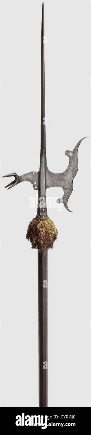 A Southern German or Italian halberd, circa 1570 Slender thrusting spike of square section, swept 'fishtail' - Stock Image