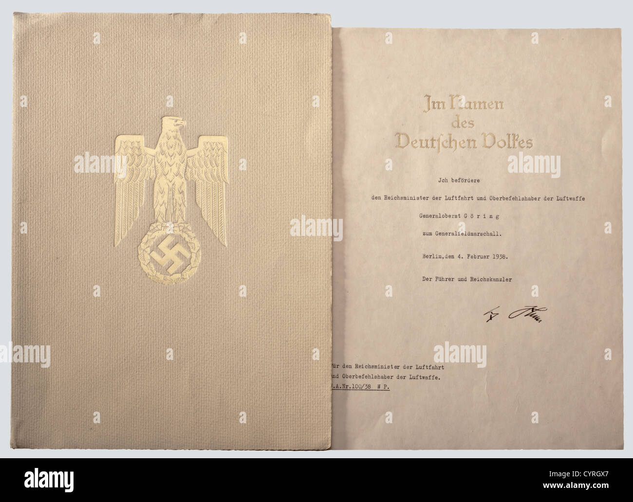 Hermann Goering Certificate Of Promotion To General Field Marshal