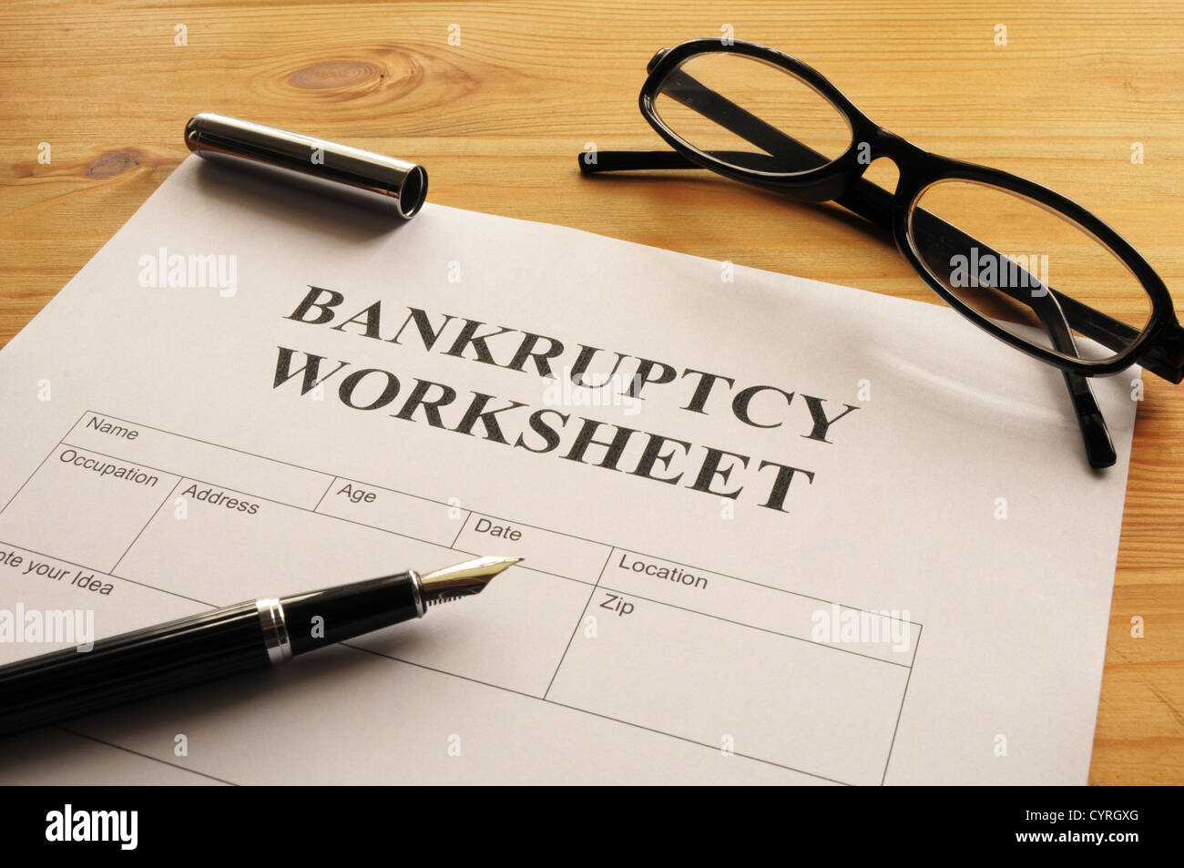 bankruptcy worksheet form or document showing business concept - Stock Image