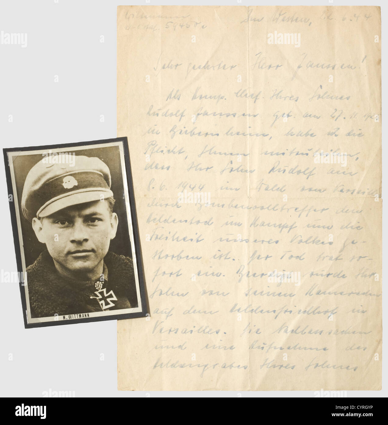 Michael Wittmann    A Signed Letter Of Condolence To The