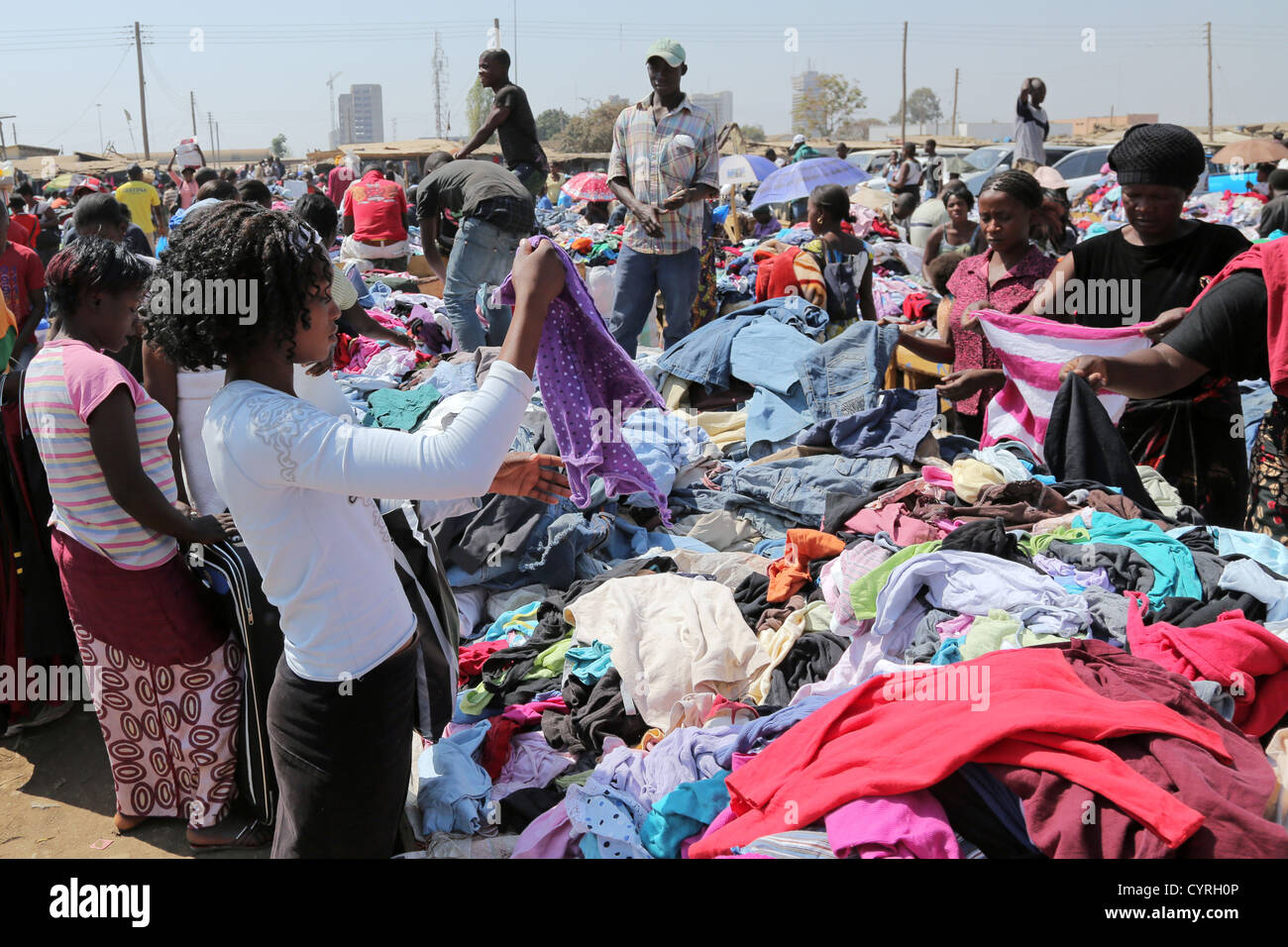 Old-Soweto second hand clothes market in Lusaka, Zambia. - Stock Image