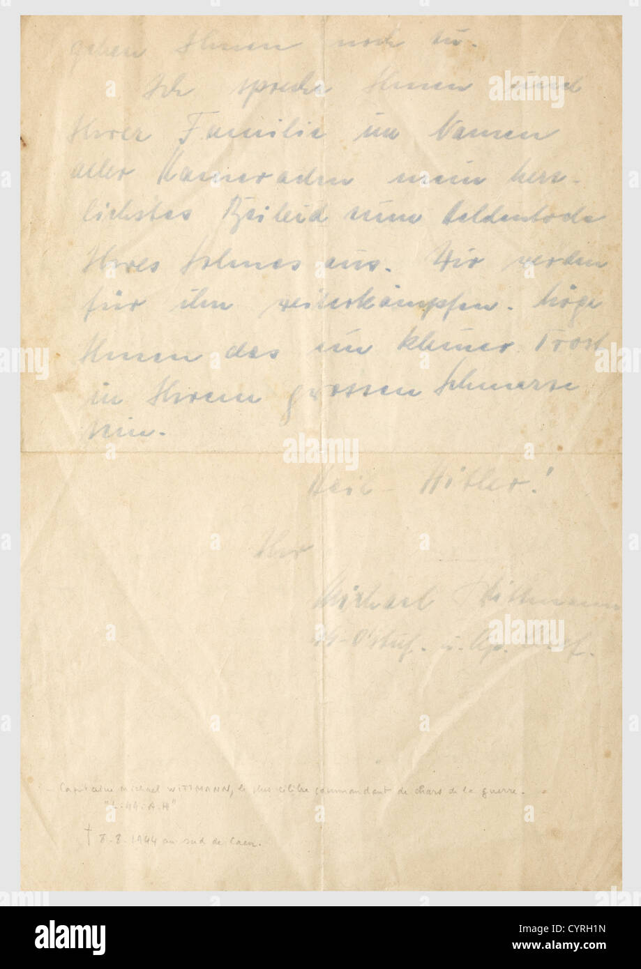 Michael Wittmann (1914 - 1944), a signed letter of condolence to the father of a soldier killed in action Wittmann - Stock Image