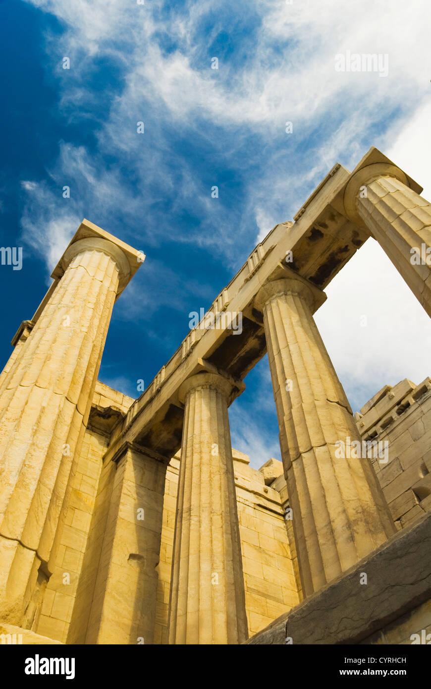 Ruins of an ancient gateway, Propylaea, Acropolis, Athens, Greece Stock Photo