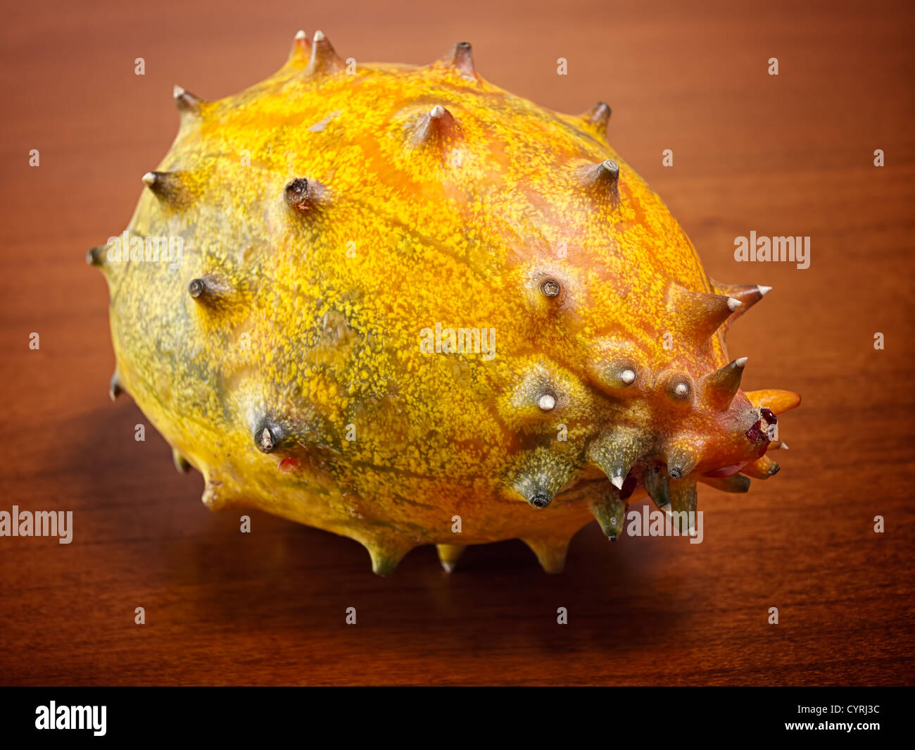 Kiwano is a fruit also known as African horned melon or cucumber. - Stock Image
