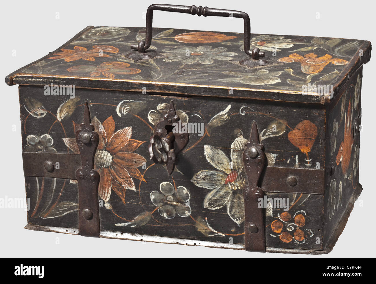A Swabian painted casket, circa 1700 Body made of reused beech wood from an older casket (ca. 1600) with iron furniture - Stock Image