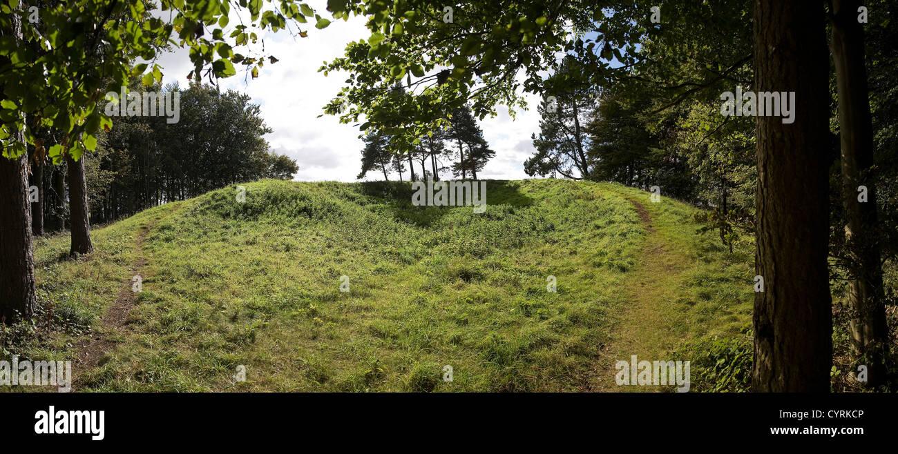 Scutchamer Knob round barrow on the Ridgeway National Trail near Wantage, Oxfordshire, UK - Stock Image