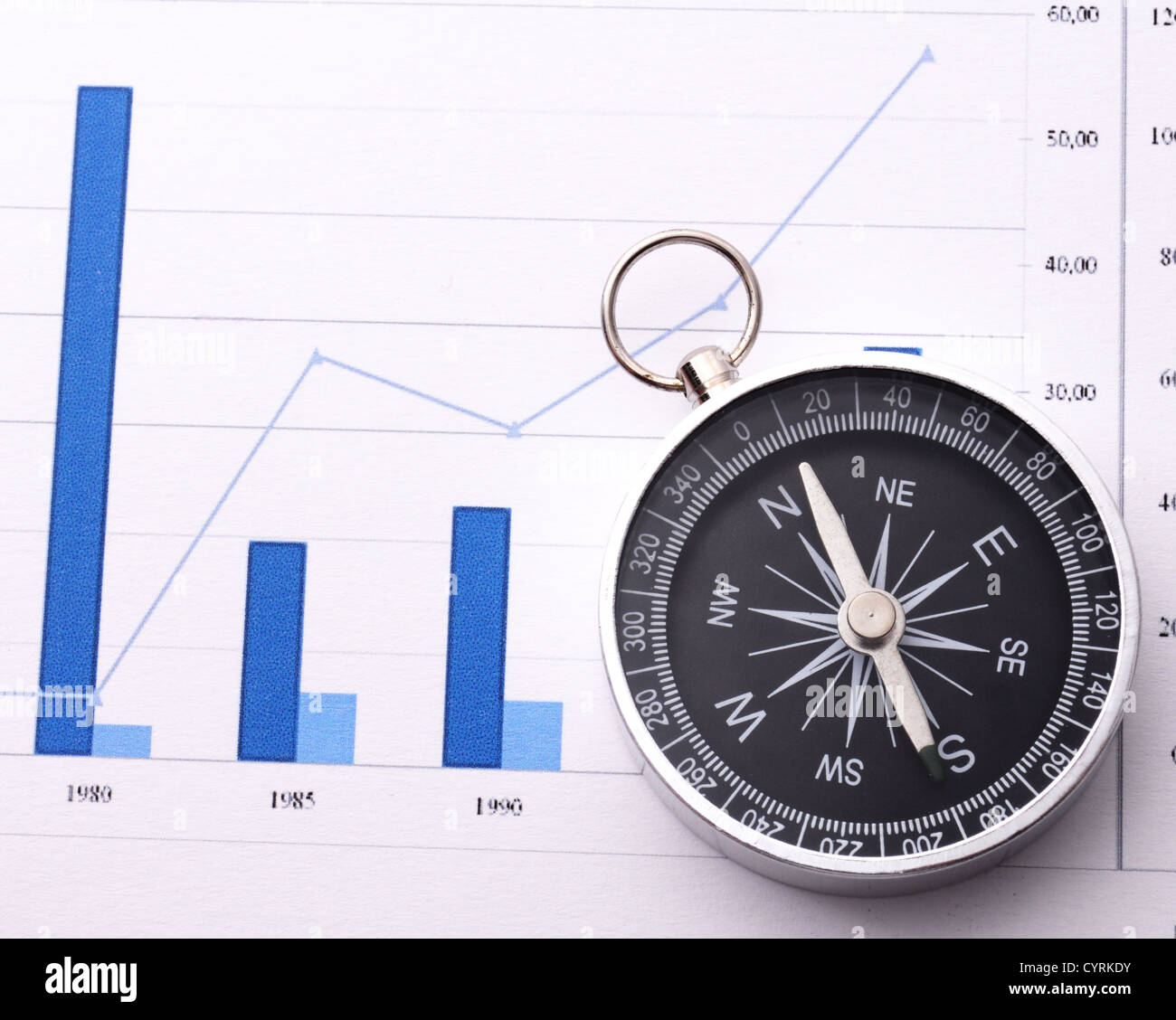 business navigation concept with compass and diagram or graph - Stock Image