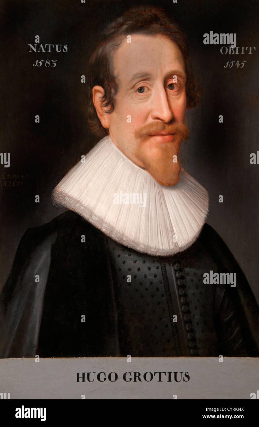 Hugo Grotius 1583-1645 by Miereveld, Michiel Jansz. van 1567-1641 Dutch Hugo de Groot Netherlands escaped in a trunk - Stock Image