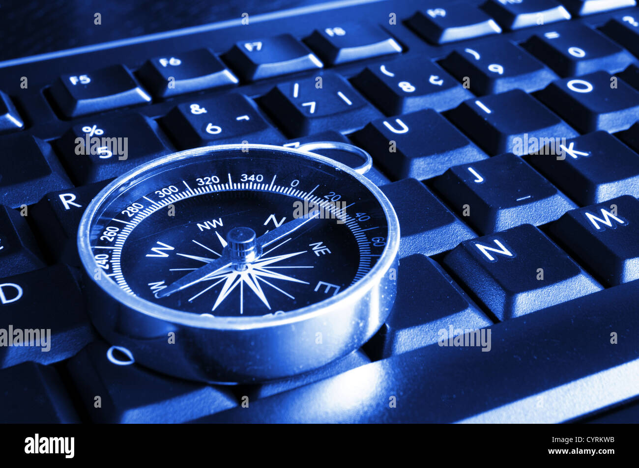 internet or online concept with computer keyboard and compass - Stock Image