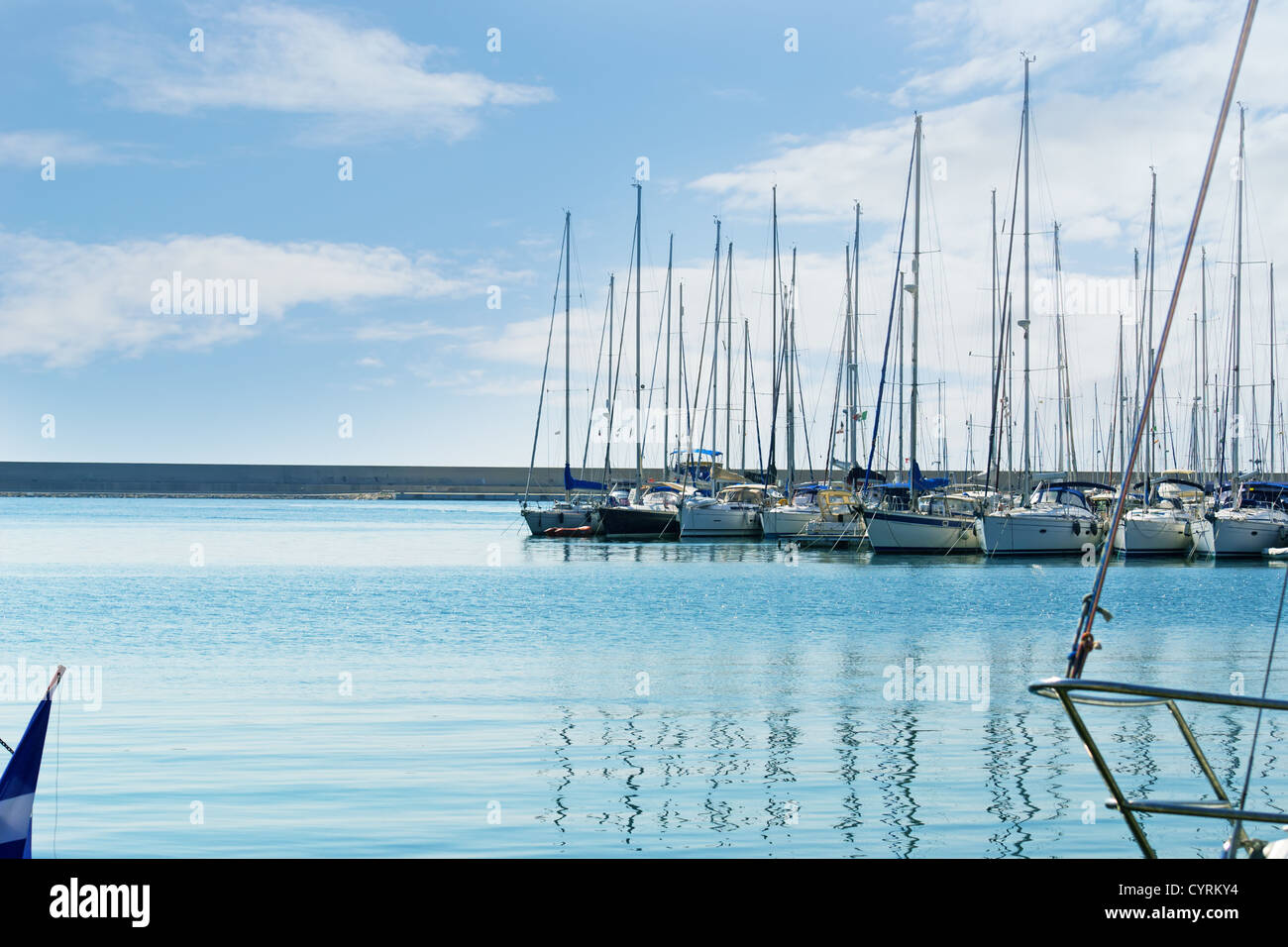 group of boats on a sunny day - Stock Image