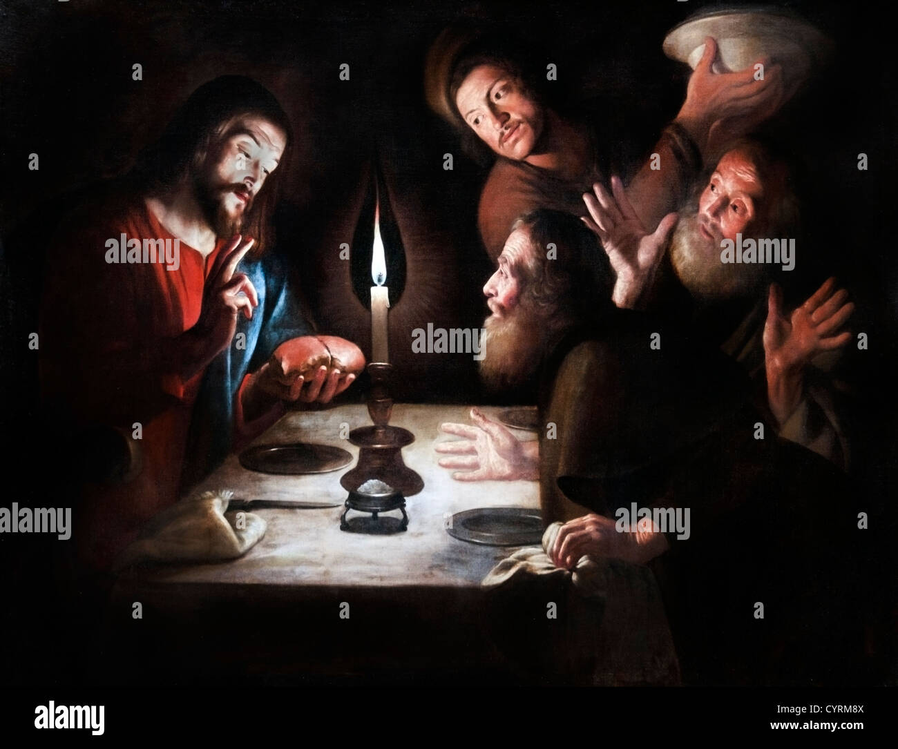 The Supper at Emmaus  by Bigot Trophime 1595-1650 France French - Stock Image