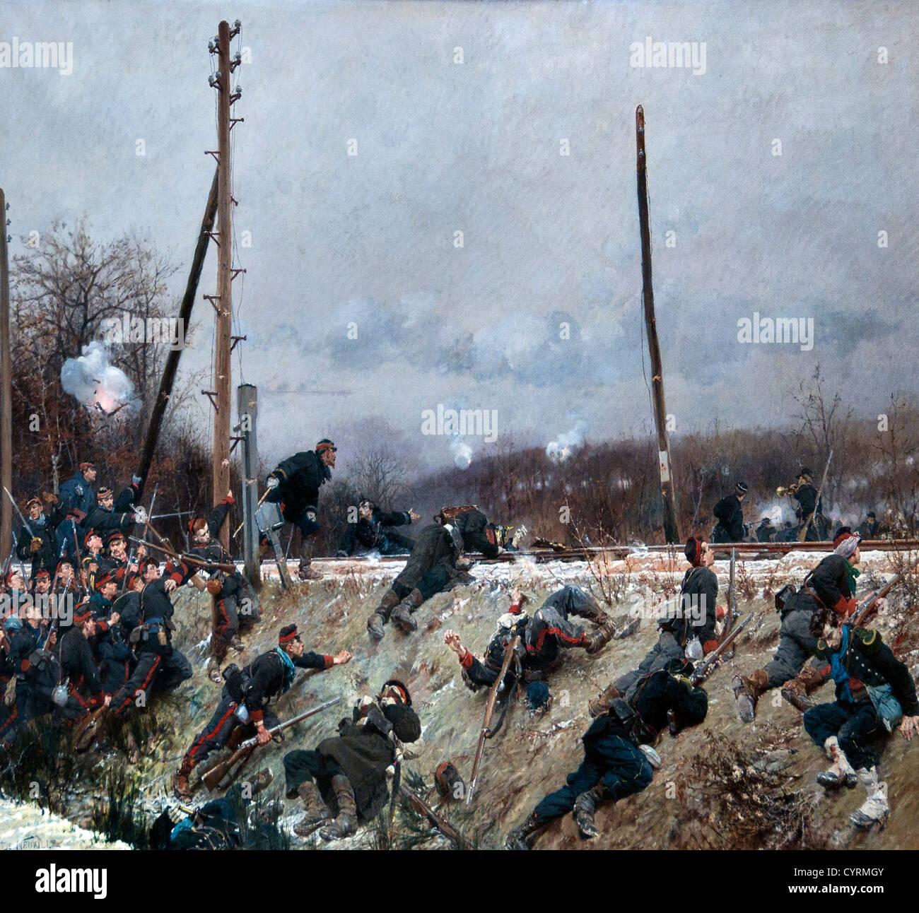 Fighting on the Tracks 1874 by Neuville, Alphonse Marie de 1835-85 combat sur la Voie Ferree France French  France - Stock Image