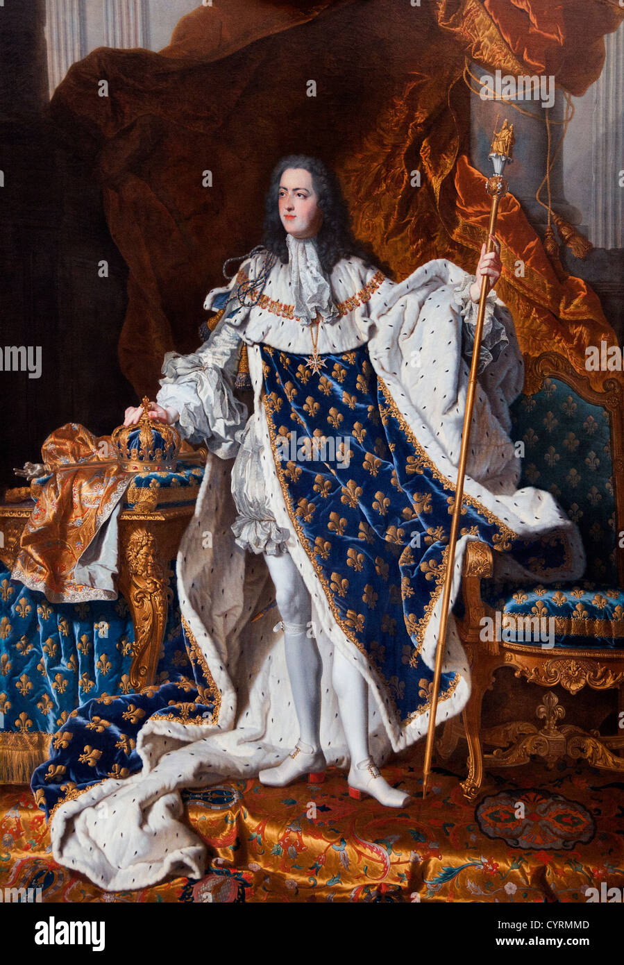 King Roi Louis XV 1710-74 in Coronation Robes 1742  Rigaud Hyacinthe 1659-1743 France French - Stock Image
