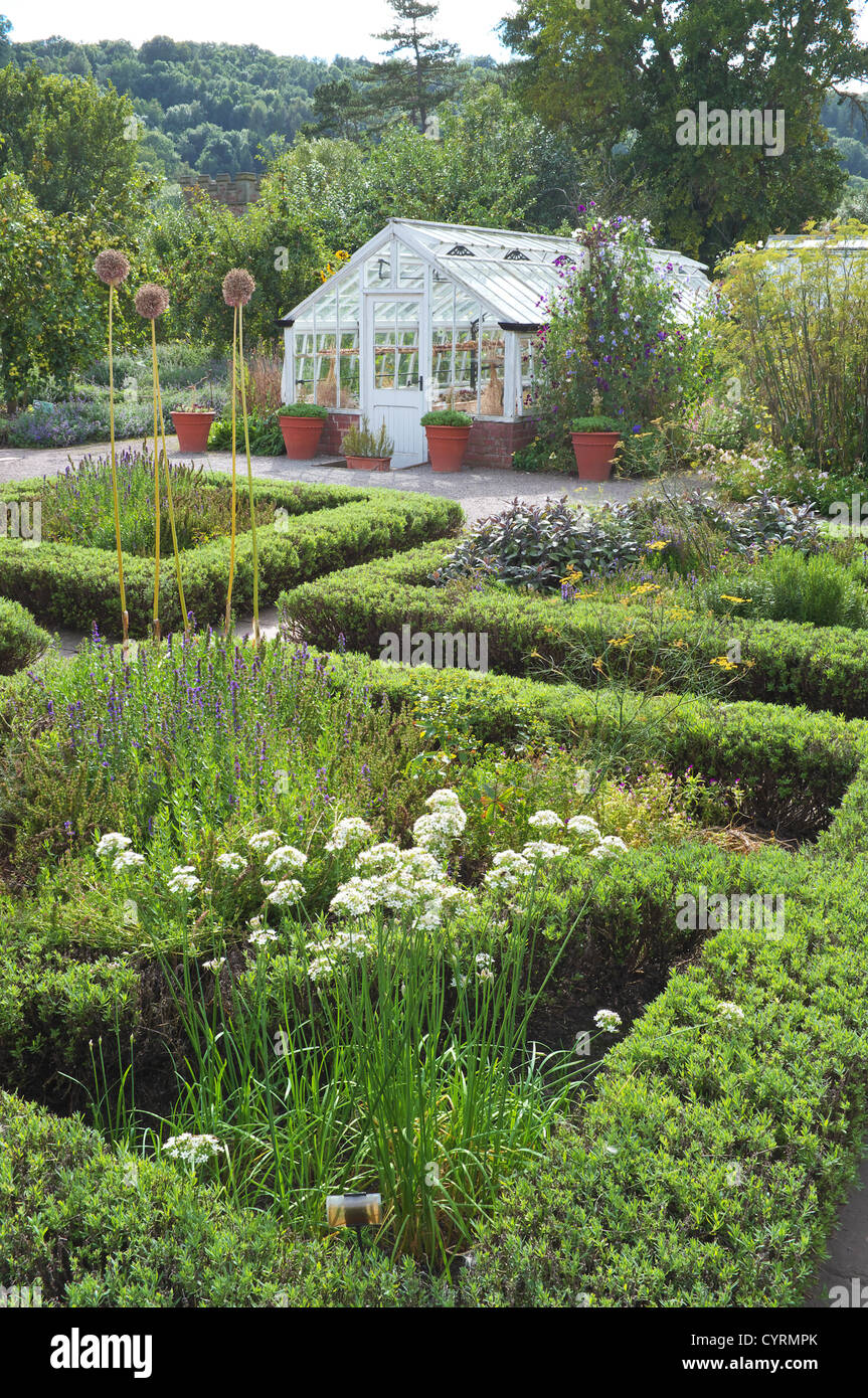 Garden green house and box hedging, Herefordshire, England UK - Stock Image