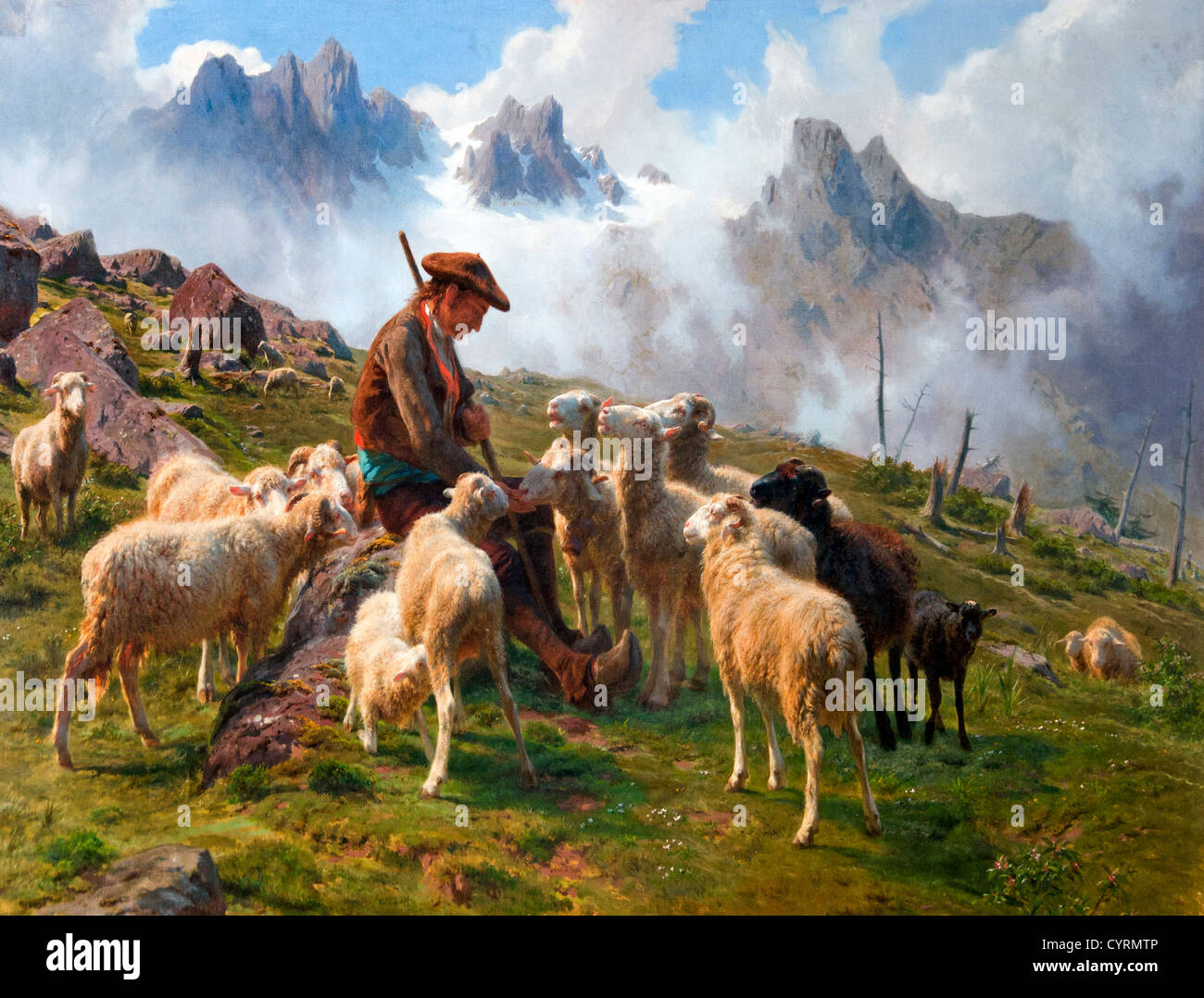 Shepherd in the Pyrenees by Bonheur Rosa 1822-99  France French - Stock Image