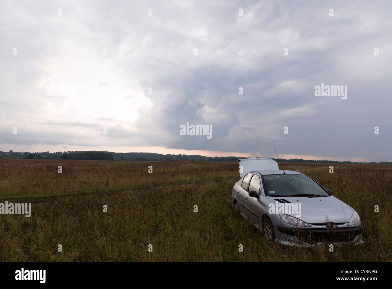 Kasimov Threats gray cloudy moody storm sky scenic - Stock Image