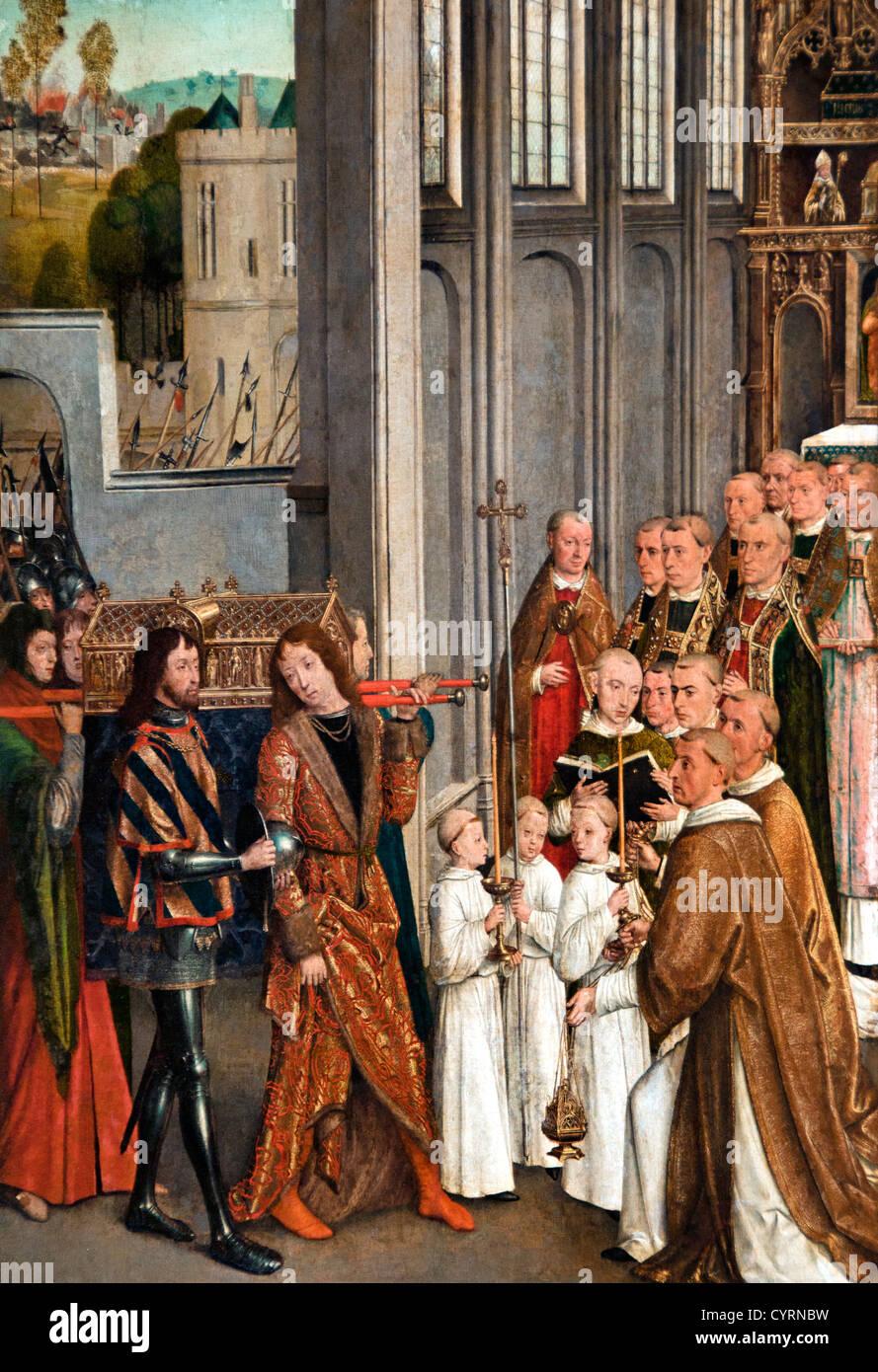 Transferring the Shrine of St Perpetua Church of Bouvignes Siege of Dinant in 1466 Flemish 15th century Belgian - Stock Image