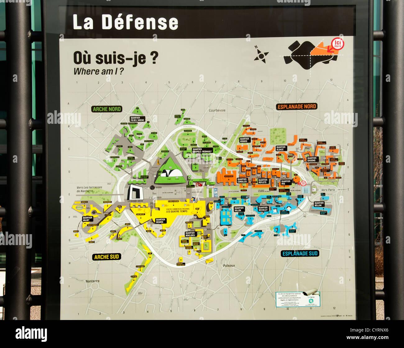 Paris La Defense French Street Map France Woman - Stock Image
