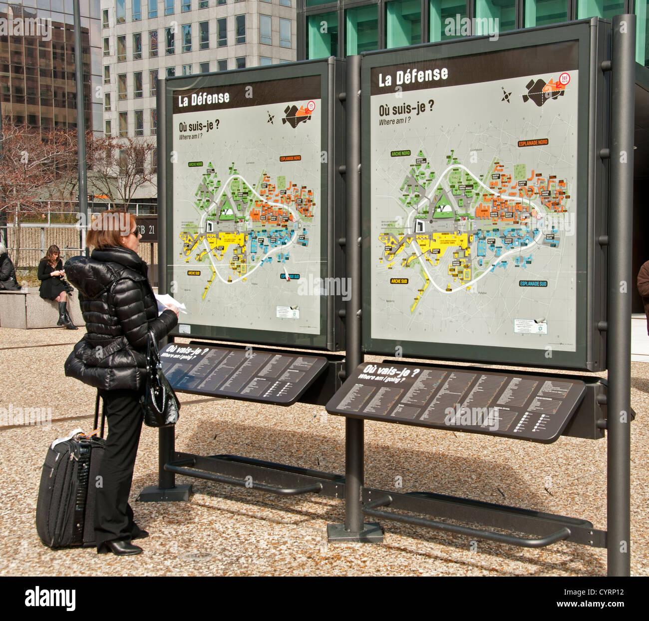 paris la defense french street map france woman