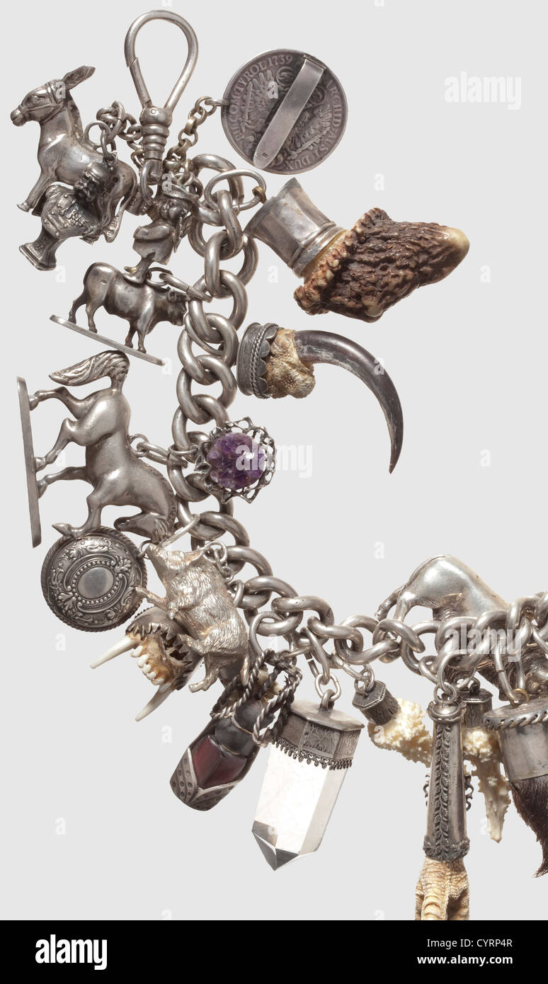 A South German luxurious charivari, 19th/20th century Heavy silver chain tapering towards the ends with lateral Stock Photo