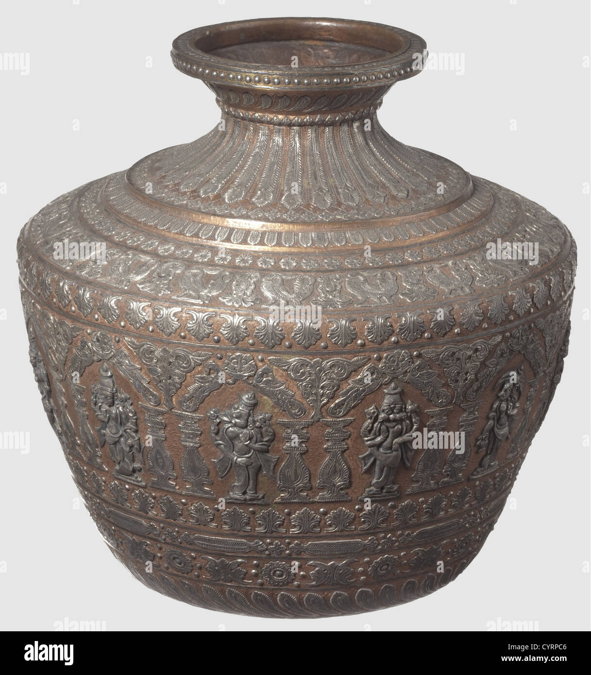 A southern Indian magnificent silver-inlaid vase, 19th century Tapered and chased body made of copper with short, - Stock Image