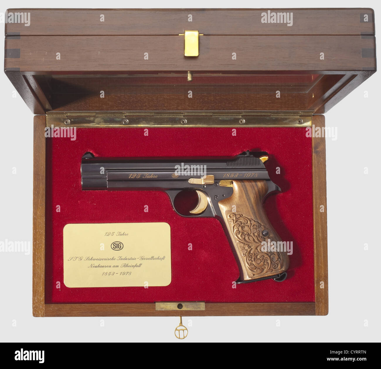 Commemorative pistol JP 210, 1978, in its case, cal. 9 mm Parabellum, no. JP 054. Matching numbers. Bright bore. Stock Photo