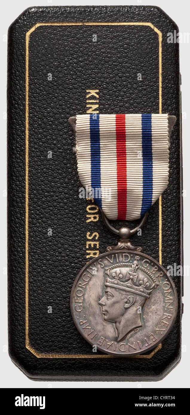 Allied Subjects' Medal, . Médaille du courage, décernée aux alliés ayant aidé un anglais - Stock Image