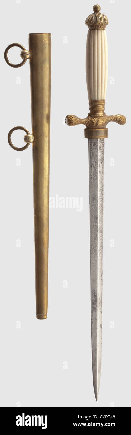 An Imperial and Royal Austrian Navy dagger, An M 1855 officer's dagger The rhombic blade is finely etched with - Stock Image