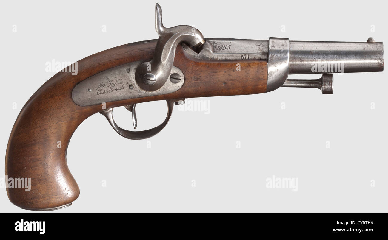 Pistol M 1836 for officers, of the gendarmerie. Rifled bore in calibre 15 mm, acceptance marks on the left above - Stock Image