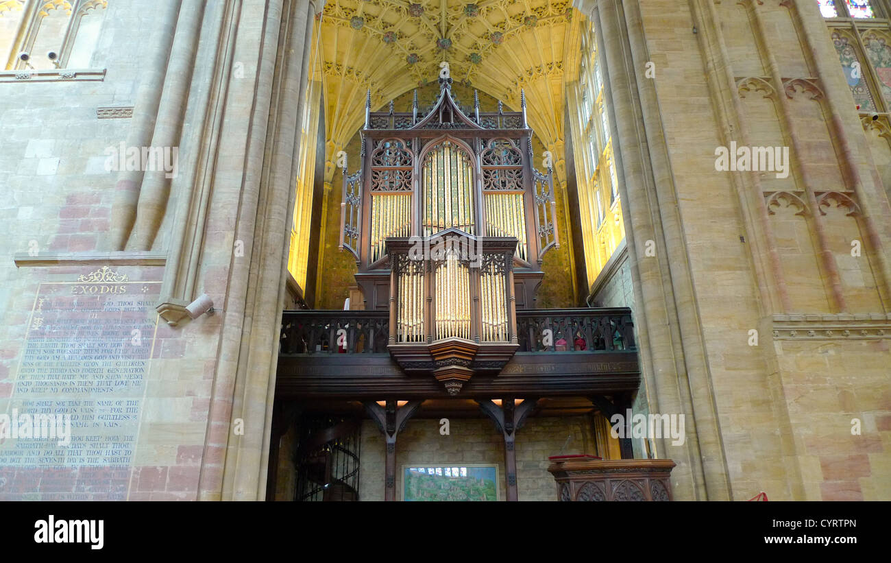 The organ inside Sherborne Abbey in Dorset, England. - Stock Image