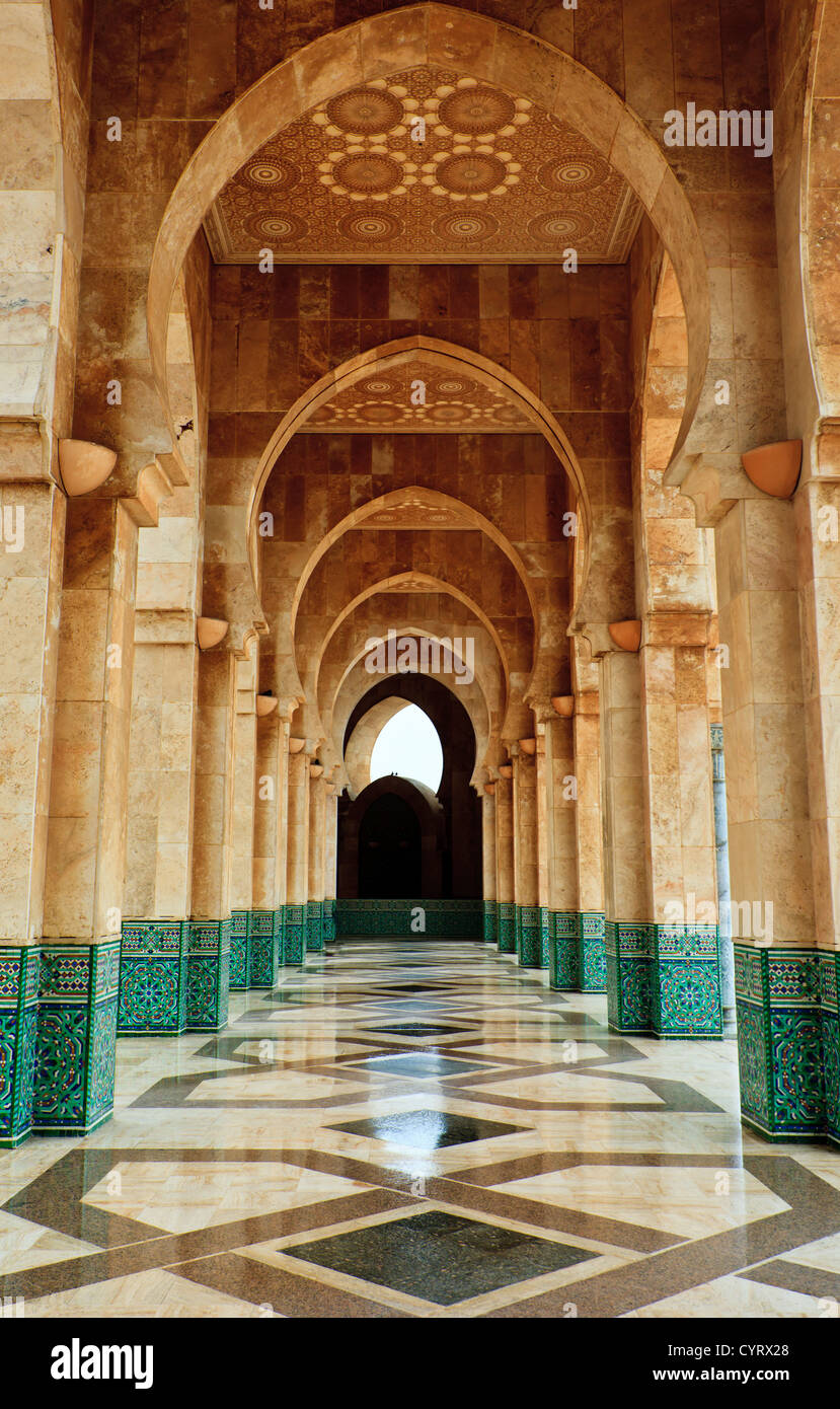Intricate exterior marble and mosaic stone archway outside of Hassan II Mosque in Casablanca, Morocco. - Stock Image